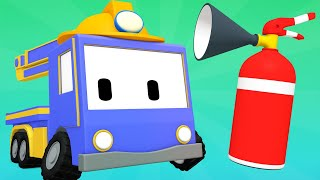 Tiny Trucks - Forest Fire - Kids Animation with Street Vehicles Bulldozer, Excavator & Crane