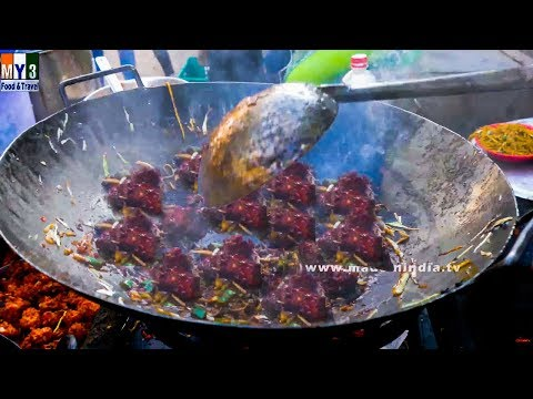ROADSIDE VEG MANCHURIA MAKING IN MUMBAI   MUMBAI STREET FOODS   STREET FOODS 2016