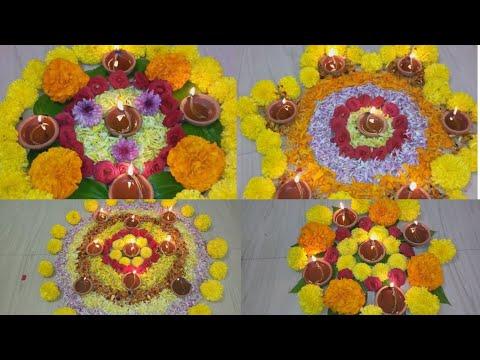 Diwali 4 Rangoli Decoration ideas with Flowers Diya l Depawali Rangoli with Flowers Candles l Depam
