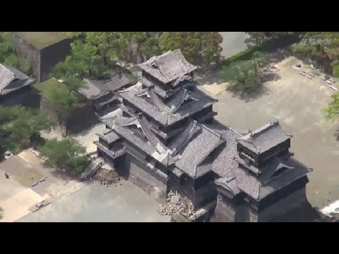 Kumamoto Castle Damaged by Earthquake in Japan April 2016