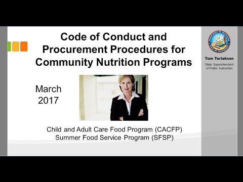 Code of Conduct and Procurement Procedures for Community Nutrition Programs