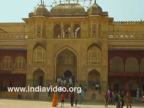 The beautifully decorated fort arch of Amber fort at Jaipur