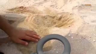 金属探知機を使ってビーチ内を探してみました。