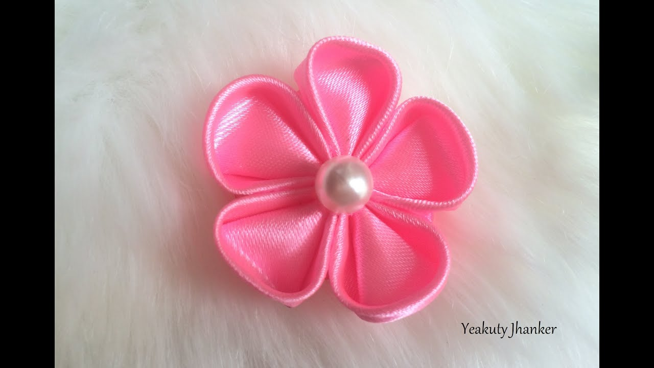 DIY  How to make a Kanzashi ribbon flower    YouTube