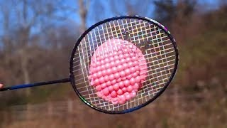 Badminton Racquet vs Water Balloons at 25,000 fps Slow Motion