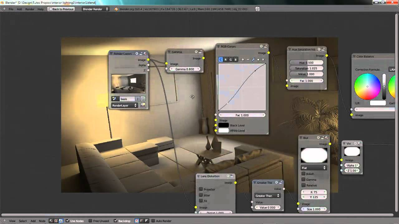 Blender Tutorial: Interior Lighting with artificial lights - YouTube