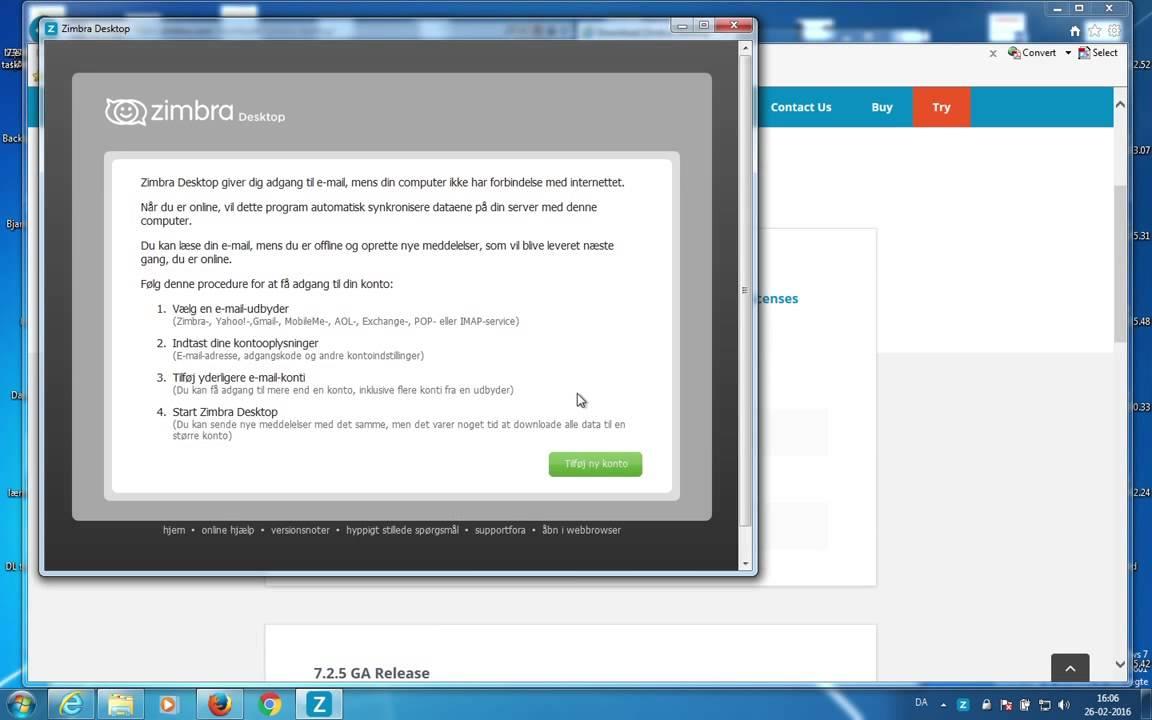 Zimbra Desktop mail client setup