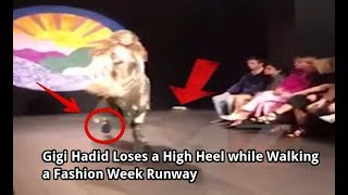 LOL Gigi Hadid Loses a High Heel while Walking a Fashion Week but She Keeps going
