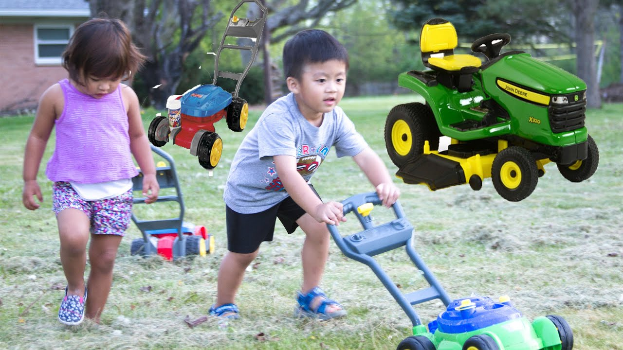 Lawn mower fun for kids doovi for Childrens gardening tools new zealand