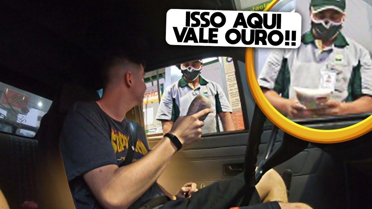 ABASTECI MEU GOL QUADRADO E PAGUEI COM UM PACOTE DE ARROZ!!!(DEU RUIM!!)
