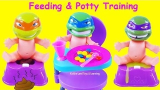 Pretend Play with Teenage Mutant Ninja Turtles Baby Dolls Eating and Potty Training! Fun Kids Video