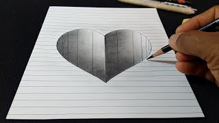 How to Draw a 3D Hole Heart Shape with Lines - Easy Art for Kids