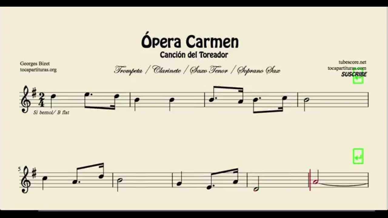 Music for trumpet clarinet tenor and soprano sax toreador song