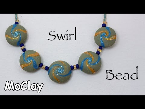 DIY How to make a Swirl bead - Wave necklace - Polymer clay tutorial