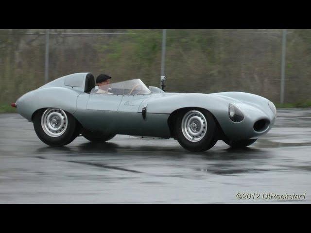 Jaguar D-Type, Jaguar C-Type Driving in rain