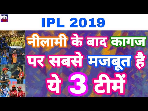 IPL 2019 - List Of Top 3 Strongest Team On PAPER After IPL Auction | MY cricket production