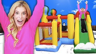 24 hours inside a game master bounce house who wins 10 000 amp matt missing in top secret hideout