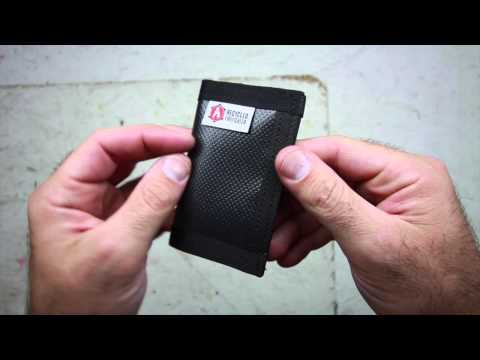 Mens Credit Card Wallet made from Repurposed Material Video