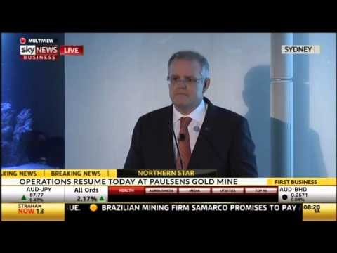 Scott Morrison delivers his speech at the Bloomberg Summit