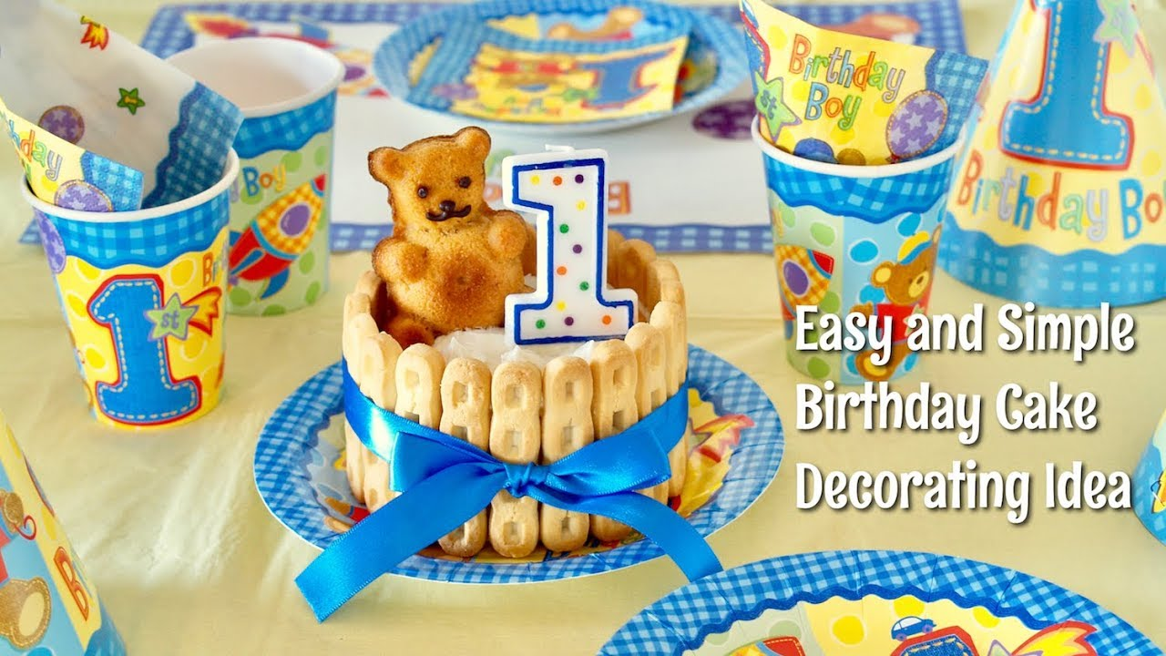 Happy 1st Birthday Easy And Kawaii Cake Decorating Idea For Baby Boy