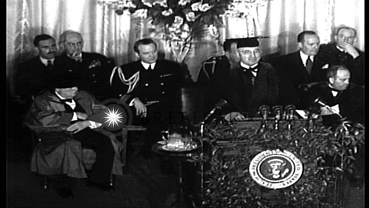 The iron curtain speech - United States President Harry Truman And British Prime Minister Sir Winston Churc Hd Stock Footage Youtube