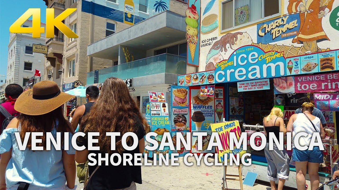 VENICE, SANTA MONICA - Shoreline Cycling Venice Beach to Santa Monica Beach, California, USA, 4K UHD