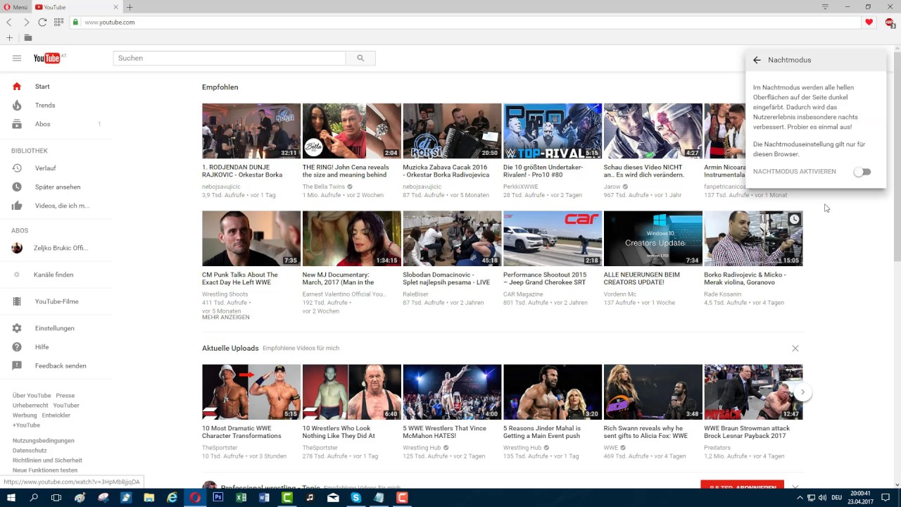 Youtube Nachtmodus