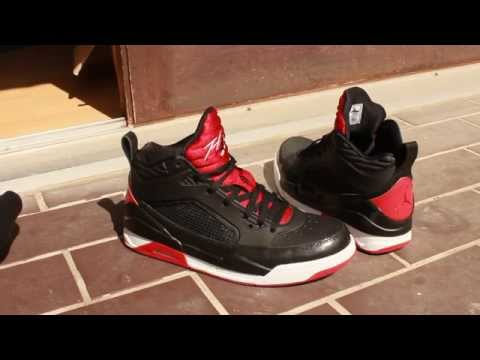 b90d74de3f24bb Jordan Flight 9.5 BREDS! Black Gym Red White - YouTube