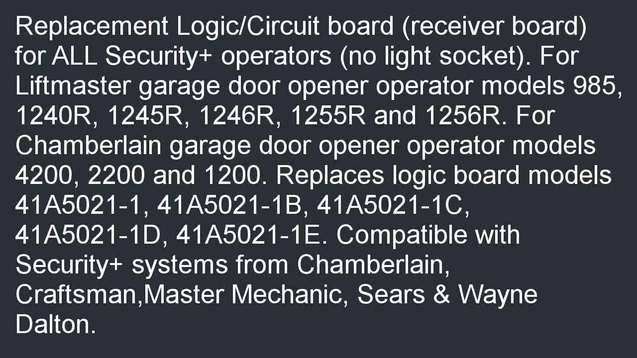 Liftmaster Garage Door Opener Replacement Circuit Board For Security Chamberlain System