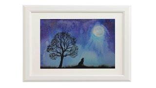 Уроки рисования. Как нарисовать пейзаж акварелью по мокрому. Укрась свой дом(Простой способ нарисовать акварелью пейзаж...ночь, дерево, волк. Отличная картинка чтобы украсить стены..., 2015-11-13T11:05:00.000Z)
