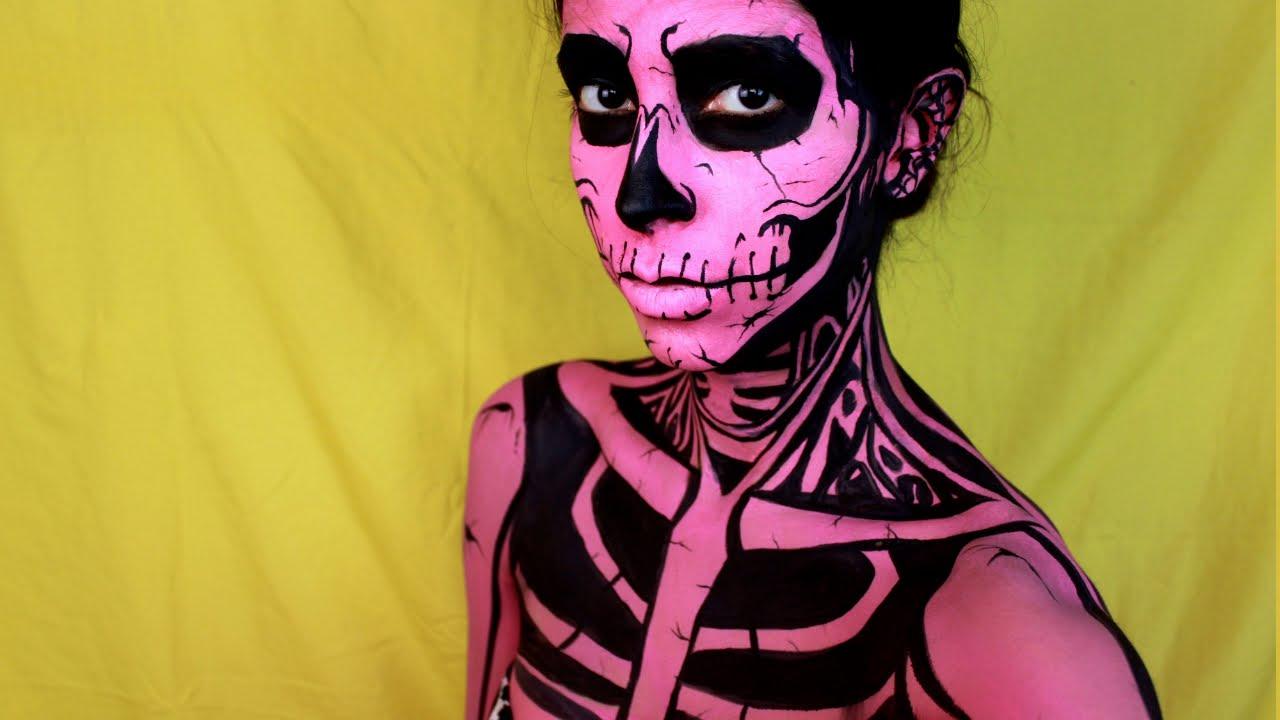 Easy Halloween Makeup: Pop Art Skull - YouTube