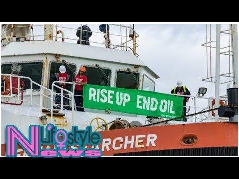 Greenpeace activists invade amazon warrior support vessel as it arrives at port taranaki