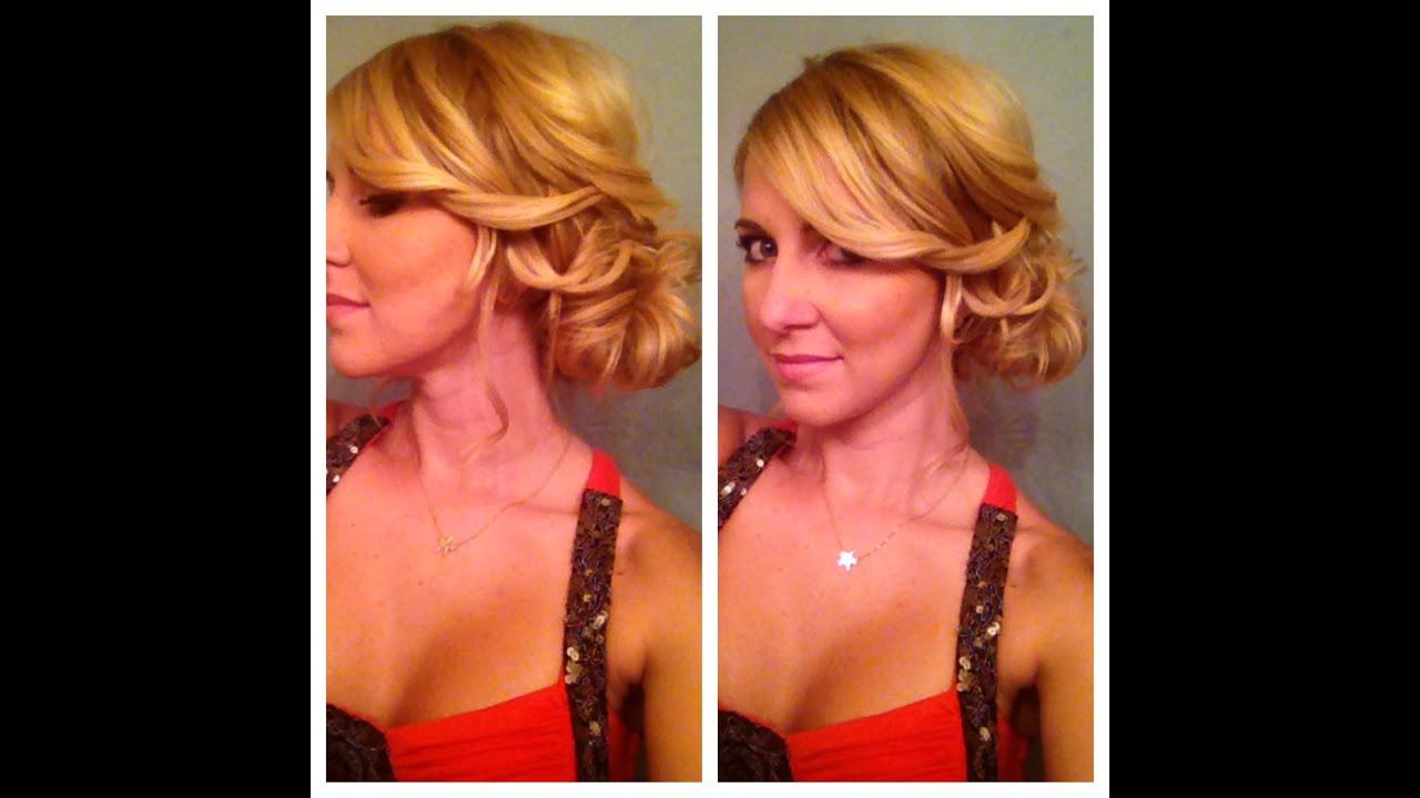 Side Bun Updo for Medium Hair or Long Hair