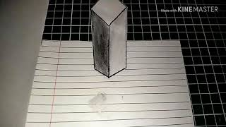 Floating Cube 3D trick art on paper | Wow! Real 3D😱 [ No Tutorial ]