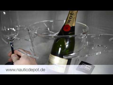 Bootsgeschirr Champagnerset, Snackschale und Glashalter