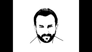 How to Draw Saif Ali Khan face pencil drawing step by step