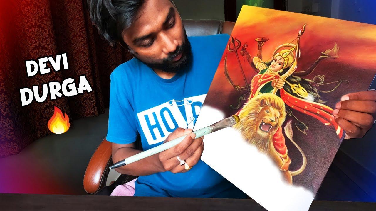 Maa Durga Drawing on Canvas🔥