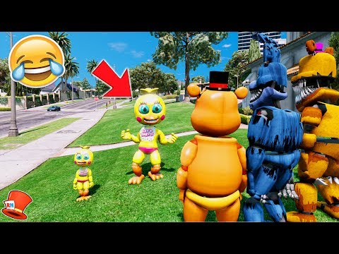 ADVENTURE TOY CHICA TURNS INTO A GROWN UP! (GTA 5 Mods For Kids FNAF RedHatter)