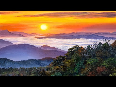 Appalachian Sunset Acrylic Painting Tutorial (in REAL TIME)!