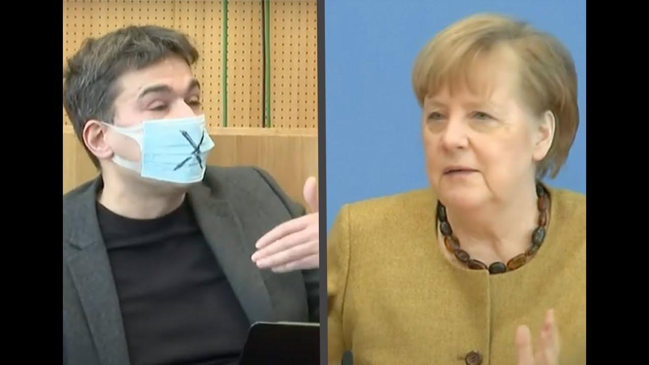 Merkel antwortet auf meine Frage, warum die Experten so einseitig ausgewählt sind und Studien fehlen