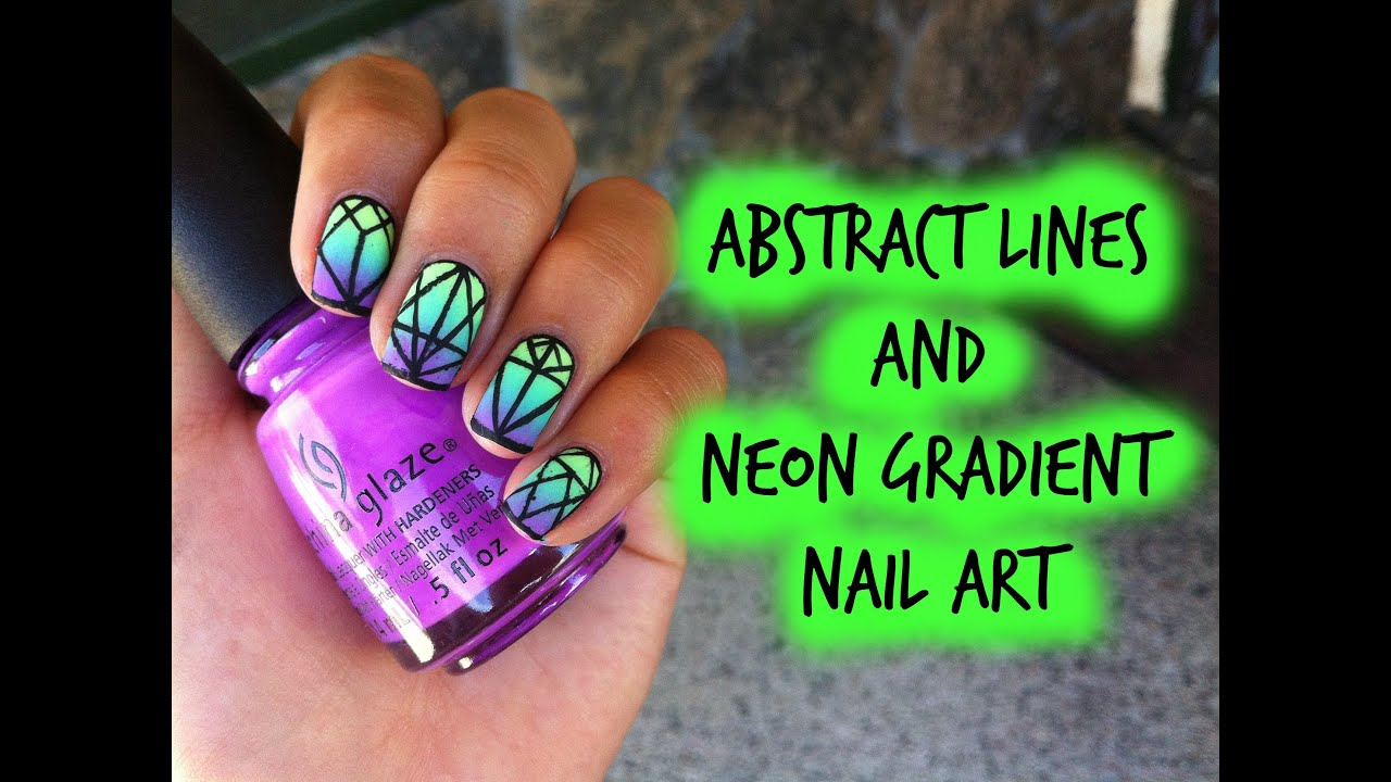 Neon Gradient + Black Abstract Lines Nail Art Tutorial - YouTube