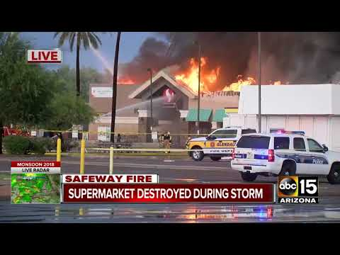 Massive fire under control at Phoenix Safeway, no injuries reported