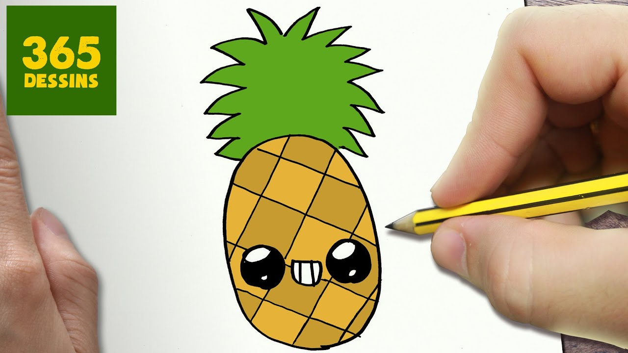 Comment dessiner ananas kawaii tape par tape dessins - Ananas dessin ...
