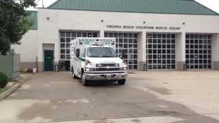 VA Beach Volunteer Rescue Squad Ambulance Unit 1425 Responding Lights & Siren