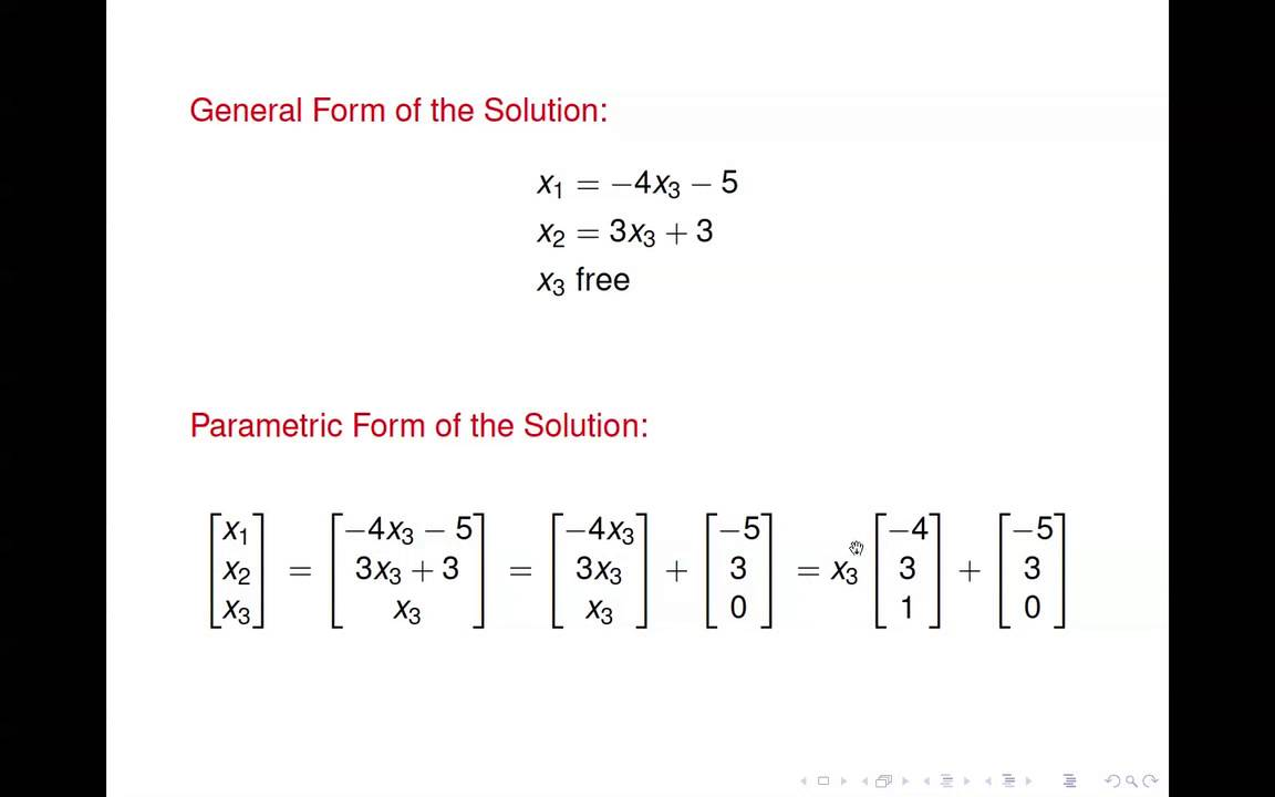 Linear Algebra - Solution Sets of Linear Systems - YouTube