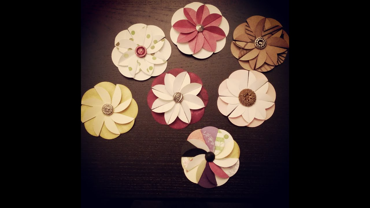 Paper Flower From Circle Punch Youtube