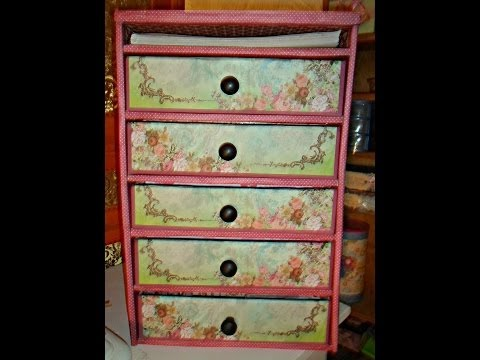 Repurpose/Recycle/Diy Organizer Made With Cardboard Tutorial/Chest of drawers