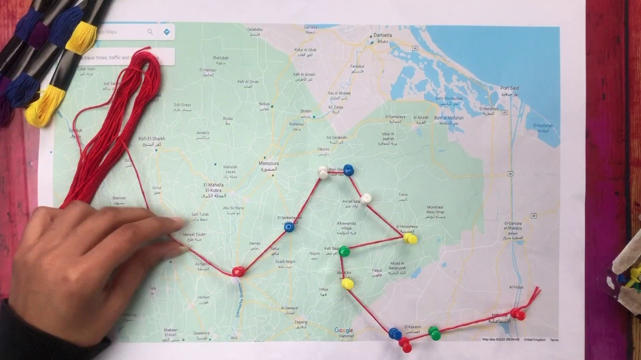 A map of Ali's  journey in documenting the Nomadic Bedouins in Egypt