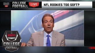 Nick Saban responds to John Harbaugh calling NFL rookies 'soft' | College Football Live | ESPN