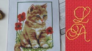 """Вышивка крестом """"Котик"""" по набору из Fix Price мой опыт"""
